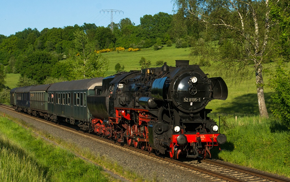 Dampflokomotive Nostalgiezug Bayern Franken Dampfzug