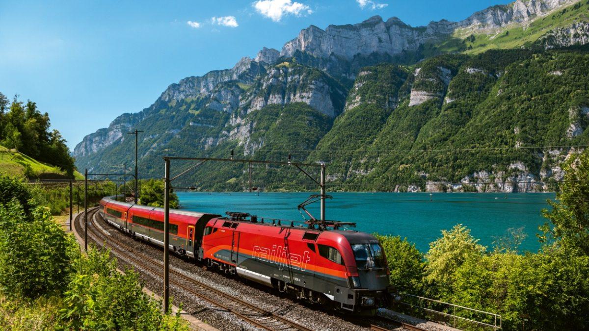 Eisenbahn Seenfahrt Schweiz See Berge