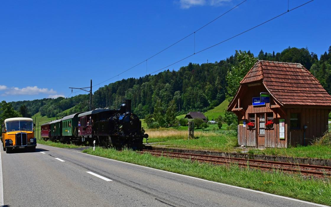 Schweiz Nostalgie Classic Emmental Appenzell Dampfzug Schnauzer-Bus Postauto Historie
